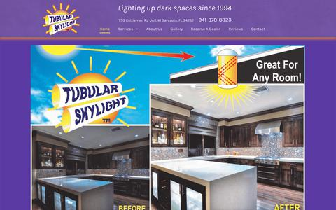 Screenshot of Home Page tubular-skylight.com - Tubular Skylight Inc. | Energy Efficient Lights Sarasota FL - captured Oct. 19, 2018