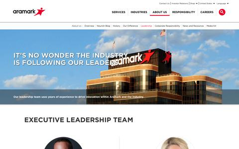 Screenshot of Team Page aramark.com - Leadership | About Us | Aramark - captured May 29, 2018