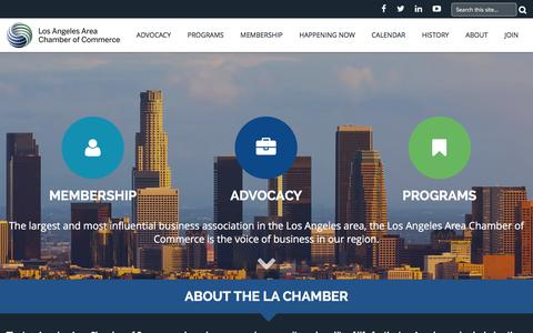 Screenshot of Home Page lachamber.com - Los Angeles Area Chamber of Commerce - captured Feb. 1, 2016