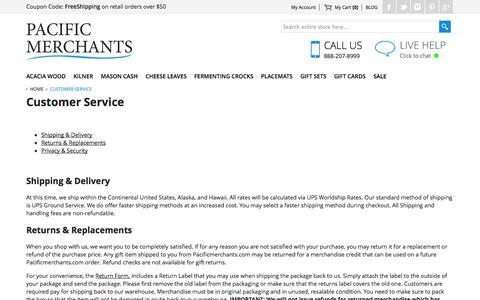 Screenshot of Support Page pacificmerchants.com - Customer Service - captured Oct. 1, 2014