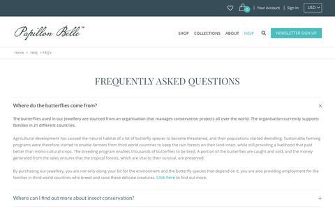 Screenshot of FAQ Page papillonbelle.com - FAQ's | Papillon Belle - captured July 15, 2018