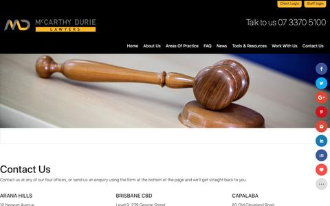 Screenshot of Contact Page mdl.com.au - Contact Us - McCarthy Durie Lawyers - captured Oct. 2, 2018