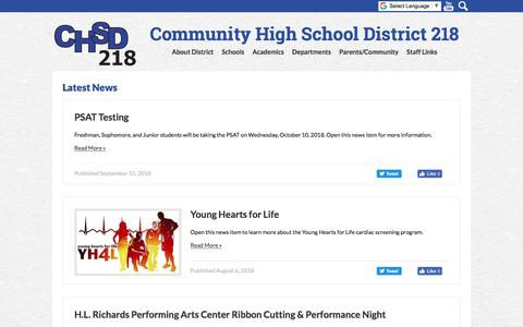 Screenshot of Press Page chsd218.org - Community High School District 218 - captured Sept. 25, 2018