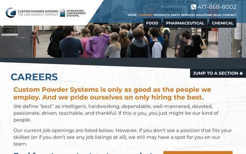 Screenshot of Jobs Page custom-powder.com - Careers | Custom Powder Systems - captured Sept. 30, 2018