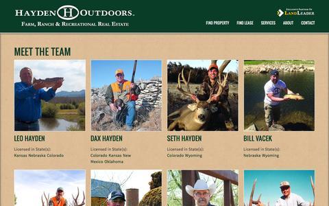 Screenshot of Team Page haydenoutdoors.com - Meet the Team | Hayden Outdoors - captured Jan. 14, 2016