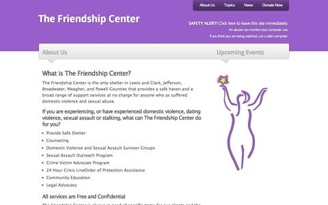 Screenshot of About Page thefriendshipcenter.org - The Friendship Center |   About Us - captured Oct. 26, 2014