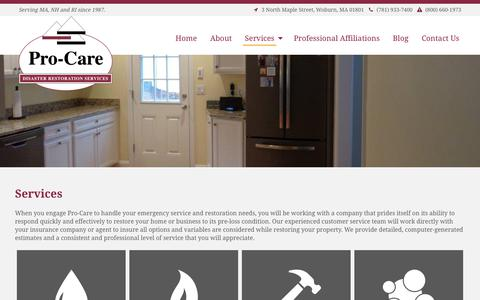 Screenshot of Services Page pro-careinc.com - Emergency Service and Restoration Needs | Services | Pro-Care - captured July 9, 2018