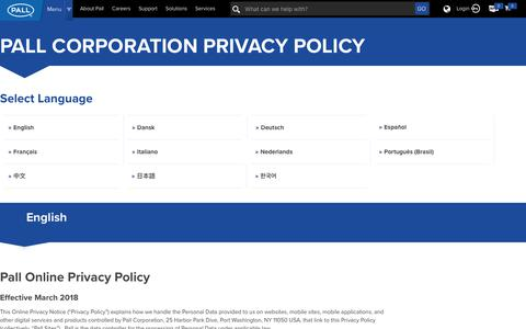 Screenshot of Privacy Page pall.com - Pall Corporation Privacy Policy - captured April 30, 2019