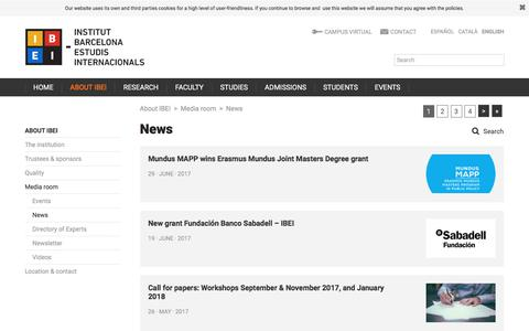 Screenshot of Press Page ibei.org - News | Institut Barcelona d'Estudis Internacionals (IBEI) - captured July 11, 2017