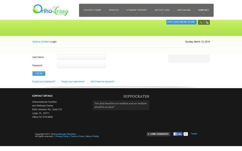 Screenshot of Login Page ortholiving.com - Login - captured March 14, 2016