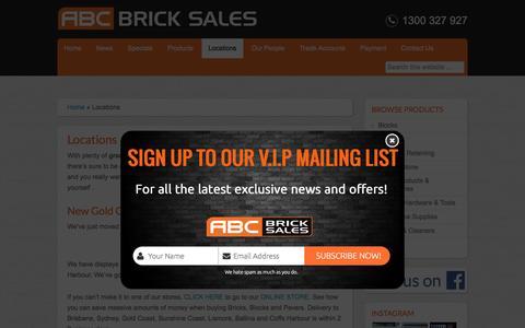 Screenshot of Locations Page abcbricksales.com.au - Pavers, Bricks, Blocks, Sandstone, Landscape supplies, - captured Nov. 19, 2016