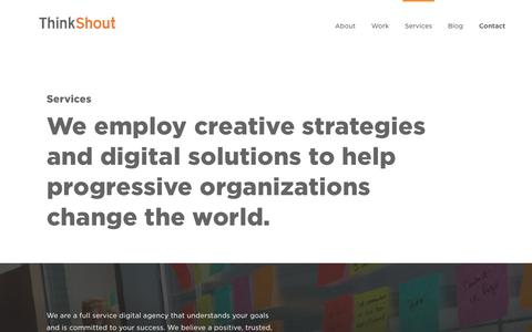 Screenshot of Services Page thinkshout.com - Services | ThinkShout - captured March 13, 2019