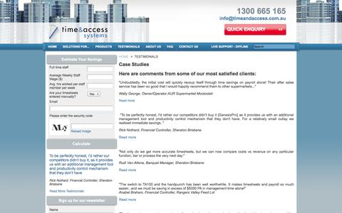 Screenshot of Case Studies Page timeandaccess.com.au - Time and Access - Case Studies - captured Oct. 7, 2014