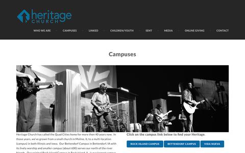 Screenshot of Locations Page heritageqc.com - Campuses - Heritage Church - captured Jan. 28, 2016