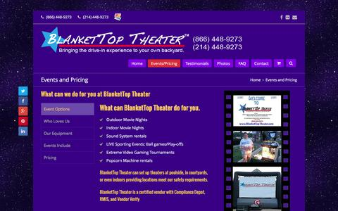 Screenshot of Pricing Page blankettoptheater.com - Events and Pricing - BlanketTop Theater - captured July 29, 2016