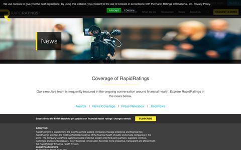 Screenshot of Press Page rapidratings.com - Media & Press | RapidRatings | Financial Health Rating - captured April 10, 2019