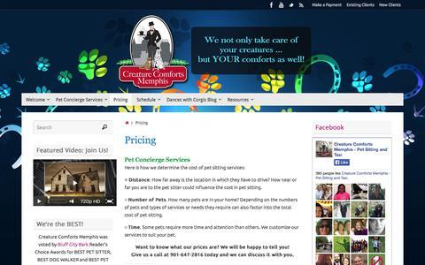 Screenshot of Pricing Page creaturecomfortsmemphis.net - Log In - Creature Comforts Memphis - captured Oct. 3, 2014