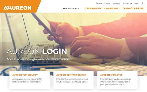 Screenshot of Login Page aureon.com - Login | Aureon - captured April 2, 2019
