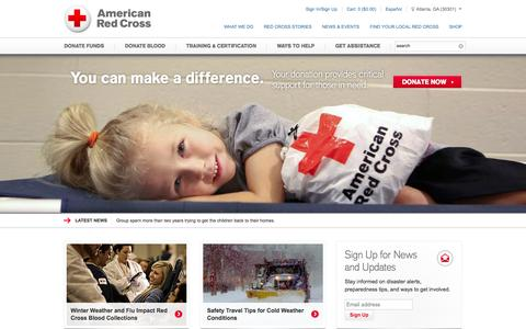 Screenshot of Home Page redcross.org - American Red Cross | Disaster Relief, CPR Certification, Donate Blood - captured Jan. 14, 2015