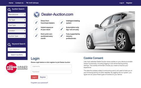 Screenshot of Login Page dealer-auction.com - Dealer Auction - captured Feb. 8, 2016