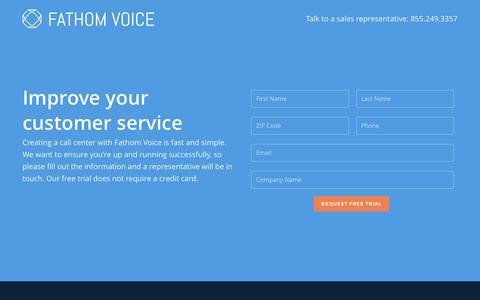 Screenshot of Trial Page fathomvoice.com - Request a Free Trial - Fathom Voice - captured Feb. 9, 2016
