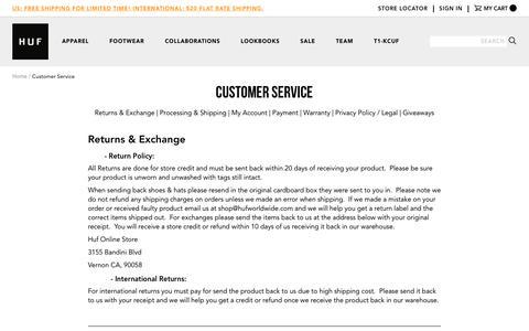 Screenshot of Support Page hufworldwide.com - Customer Service   HUF Worldwide // EST. 2002 // DBC - captured April 3, 2017