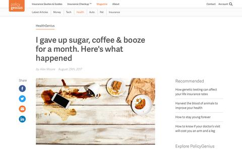I gave up sugar, coffee & booze for a month. Here's what happened | PolicyGenius