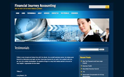 Screenshot of Testimonials Page financialjourney.net - Financial Journey Accounting  Testimonials | Financial Journey Accounting - captured Oct. 5, 2014