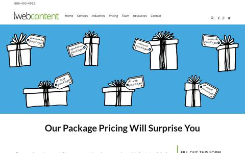 Screenshot of Pricing Page iwebcontent.com - Packages | iWebContent - captured Sept. 20, 2018
