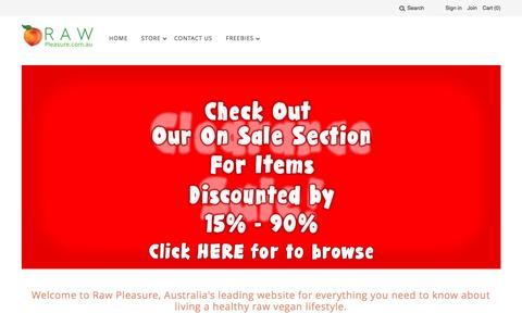 Screenshot of Home Page raw-pleasure.com.au - Raw Pleasure | The Leading Online Raw Foods Superstore - captured Nov. 29, 2016