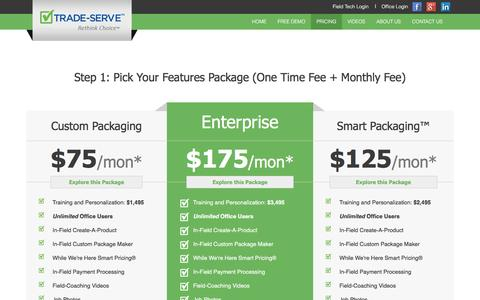 Screenshot of Pricing Page trade-serve.com - Pricing Packages for Our Service Management Software - captured Aug. 16, 2016