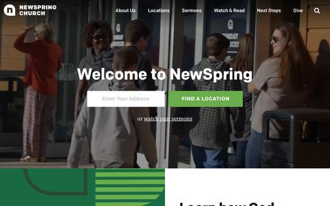 Screenshot of Home Page newspring.cc - Welcome to NewSpring | NewSpring Church - captured April 24, 2018