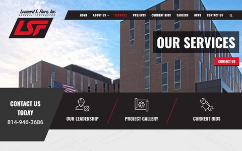 Screenshot of Services Page lsfiore.com - Building & Design, Construction Management, Pre-construction - General Contractor Services - Leonard S. Fiore, Inc. - captured Sept. 28, 2018