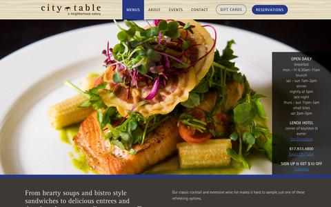 Screenshot of Menu Page citytableboston.com - Menus | City Table Boston Back Bay - captured March 5, 2016
