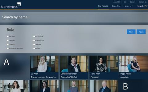 Screenshot of Team Page michelmores.com - Our people | Michelmores - captured Sept. 20, 2018