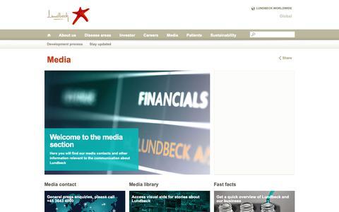 Screenshot of Press Page lundbeck.com - Media - captured Oct. 6, 2018