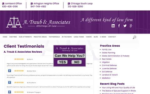 Screenshot of Testimonials Page atclaw.com - Client Testimonials | A Traub & Associates | Lombard, Arlington Heights - captured Nov. 14, 2016