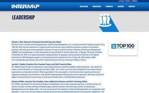 Screenshot of Team Page intermap.com - Leadership Team   Intermap - captured Sept. 22, 2018