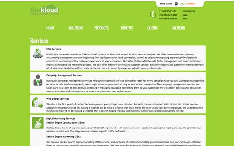 Screenshot of Services Page bizkloud.com - ISP CRM Services | Cloud Telephony Services | CRM Services - captured Sept. 30, 2014