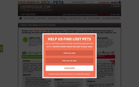 Screenshot of Pricing Page lostmydoggie.com - Lost My Doggie - Our Lost Dog Locating Service will Help Find Your Lost Dog, Lost Cat or Missing Pet - captured Sept. 22, 2015