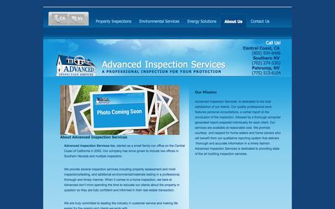 Screenshot of About Page advinspect.com - About Advanced Inspection Services | California & Nevada - captured Oct. 4, 2014