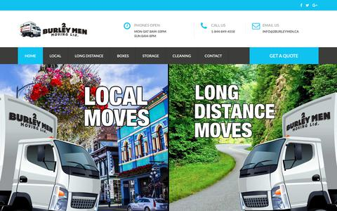 Screenshot of Home Page 2burleymen.ca - 2 Burley Men Movers - Victoria BC's Favourite Moving Company - captured Oct. 23, 2018