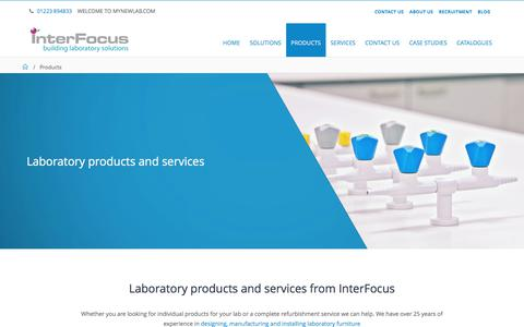 Screenshot of Products Page mynewlab.com - Laboratory Products & Fittings | Interfocus - captured Oct. 15, 2017