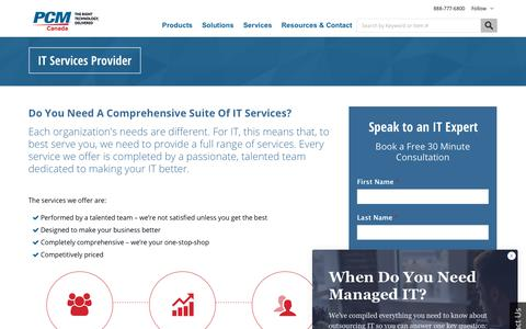 Screenshot of Services Page pcmcanada.com - IT Services Provider | PCM Canada Inc. - captured July 29, 2018