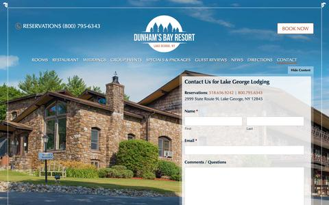 Screenshot of Contact Page dunhamsbay.com - Book Your Lake George Vacation: Contact Dunham's Bay Resort - captured Oct. 13, 2017