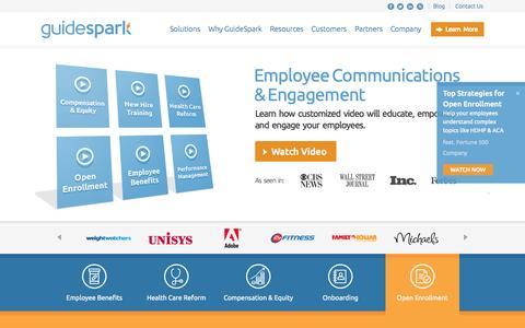 Screenshot of Home Page guidespark.com - Employee Communications | GuideSpark - captured Sept. 16, 2014