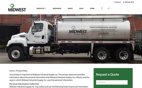 Screenshot of Privacy Page midwestind.com - Privacy Policy - Midwest Industrial Supply - captured Nov. 19, 2019