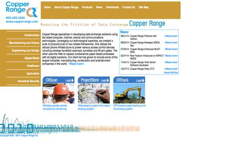 Screenshot of Home Page copperrange.com - Copper Range - Wireless access control, safety compliance products and much more. - captured Sept. 30, 2014