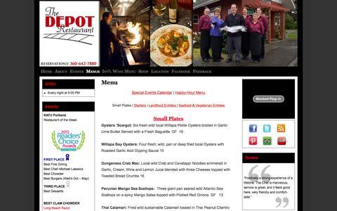 Screenshot of Menu Page depotrestaurantdining.com - Menu - The DEPOT RestaurantThe DEPOT Restaurant - captured June 16, 2016
