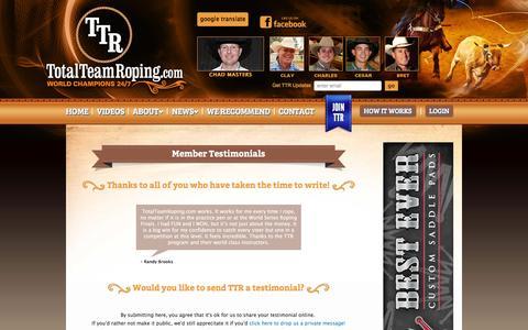 Screenshot of Testimonials Page totalteamroping.com - Send a Testimonial to TotalTeamRoping.com - captured Feb. 24, 2016